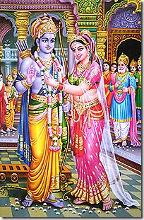 King Janaka watches Sita declare Rama the winner