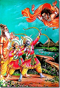 Rama and Lakshmana fighting Tataka