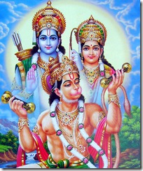 Hanuman worshiping Sita and Rama