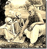 Krishna and Balarama learning from Sandipani Muni