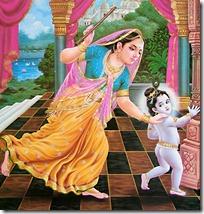 Yashoda chasing Krishna