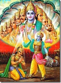 Krishna showing the universal form to Arjuna