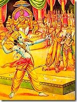 Rama lifting Shiva's bow