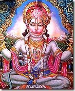 Hanuman chanting the glories of Sita and Rama