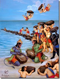 Rama's army building a bridge with rocks