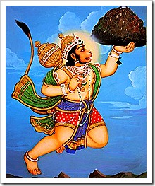 Hanuman lifting a mountain