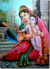 Krishna with mother Yashoda in Vrindavana