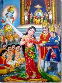 Krishna saving Draupadi