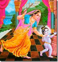 Mother Yashoda chasing Krishna