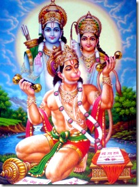 Hanuman serving Sita and Rama