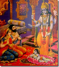 Krishna appearing before Vasudeva and Devaki