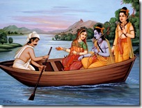 Lakshmana, Rama and Sita travelling by boat