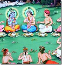 Lord Krishna and friends in Vrindavana