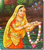 Gopi offering a flower garland