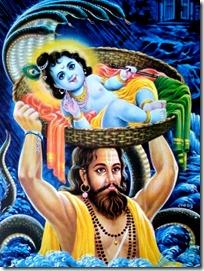Vasudeva transporting Krishna across the Yamuna river