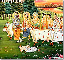 Krishna and friends in Vrindavana