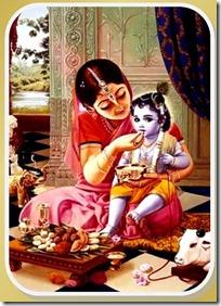 Mother Yashoda feeding Krishna
