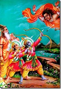 Rama and Lakshmana defending against Tataka