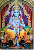 Rama sitting on a throne