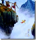 Prahlada being thrown off a cliff