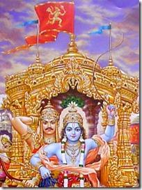 Hanuman on Arjuna's chariot