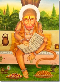 Hanuman reading the Ramayana