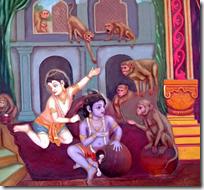 [Krishna with monkeys]