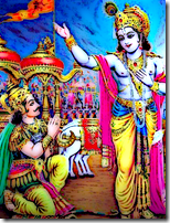 [Krishna speaking with Arjuna]
