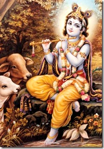 [Indra Sharma painting of Krishna with cows]