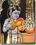 [Krishna holding fruits]