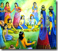 [Wives of the brahmanas feeding Krishna]