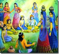 [Krishna and Balarama fed by the wives of the brahmanas]