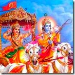 [Krishna and Arjuna rushing on chariot]