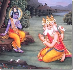 [Brahma praying to Krishna]