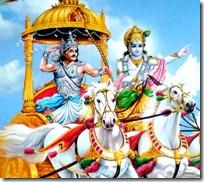 [Krishna and Arjuna on chariot]