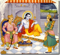 [Arjuna and Duryodhana meeting Krishna]