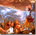[Krishna lifting Govardhana Hill]