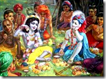 [Krishna eating lunch with friends]