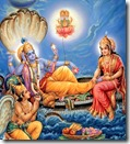 [Lord Vishnu being worshiped]