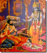 [Krishna appearing before Vasudeva and Devaki]
