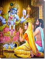 [Devaki and Vasudeva praying to Krishna]