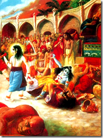 [Krishna adventing to protect the pious]
