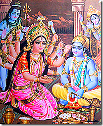 [Shiva and Parvati worshiping Vishnu]