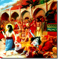 [Krishna annihilating the miscreant Kamsa]