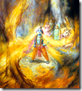 [Krishna swallowing forest fire]