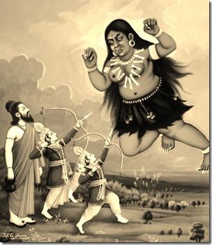 [Rama and Lakshmana fighting Tataka]