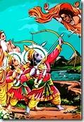 [Rama and Lakshmana fighting]