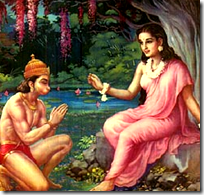 [Hanuman giving Rama's ring to Sita]