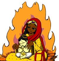 [Prahlada with Holika]