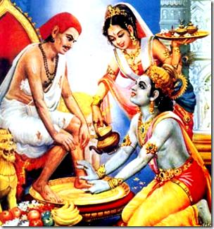 [Krishna welcoming Sudama]